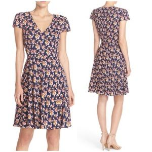 Betsey Johnson Floral Fit and Flare V-Neck Dress